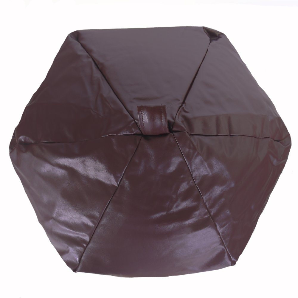 6 CUFT Faux Leather Light Chocolate Brown Classic Design Bean Bag with Filling