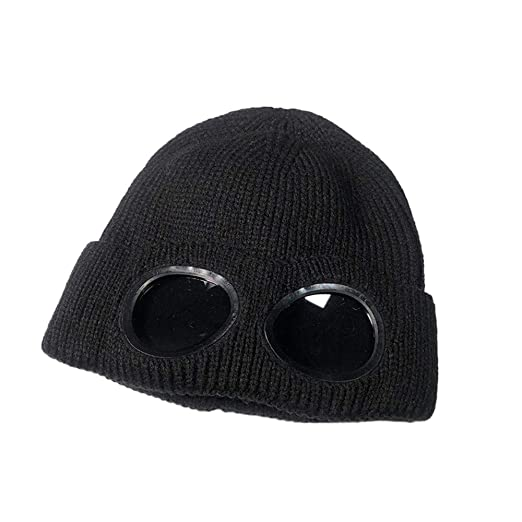 MaxFox Fashion Women Winter Warm Ski Hip Hop Glasses Hats Knitted Wool  Hemming Beanie Caps for 45058db1a953