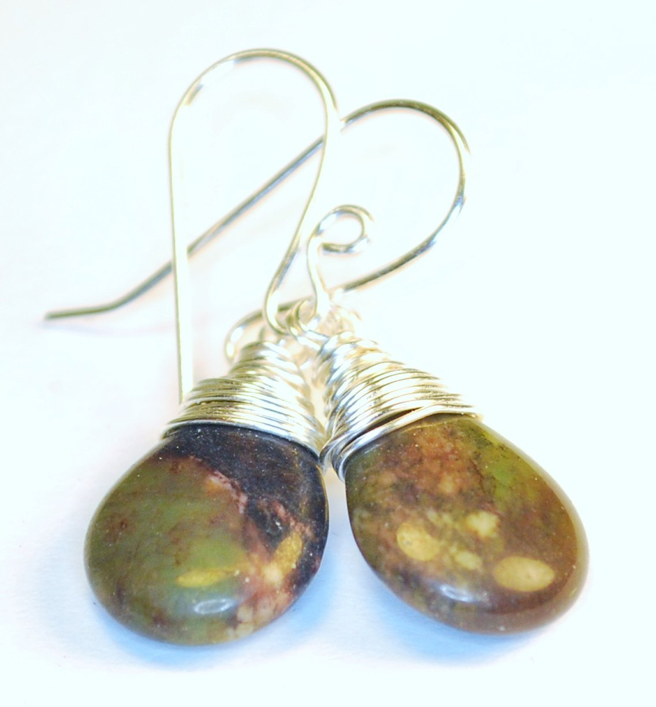 Gemstone Earrings Sterling Silver Earrings Jasper Jewelry. Jasper Teardrop Earrings Four Corners Jasper Floral Earrings