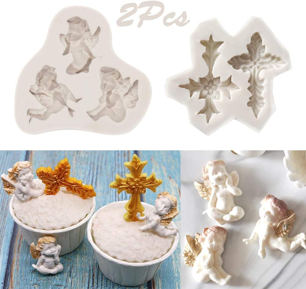 Sunsor 2Pcs Angel Baby and Cross Silicone Molds Cake Decorating Tool Chocolate Candy Polymer Clay Making Molds for Wedding Birthday Easter Christian