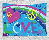 Ambesonne Groovy Decorations Collection, Love Peace And Hearts Music Notes Keys Typography Seventies Movement, Bedroom Living Room Dorm Wall Hanging Tapestry, 80W X 60L Inch