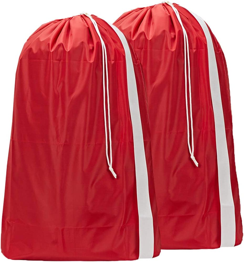 HOMEST 2 Pack XL Nylon Laundry Bag with Strap, Machine Washable Large Dirty Clothes Organizer, Easy Fit a Laundry Hamper or Basket, Can Carry Up to 4 Loads of Laundry, Red, Patent Pending
