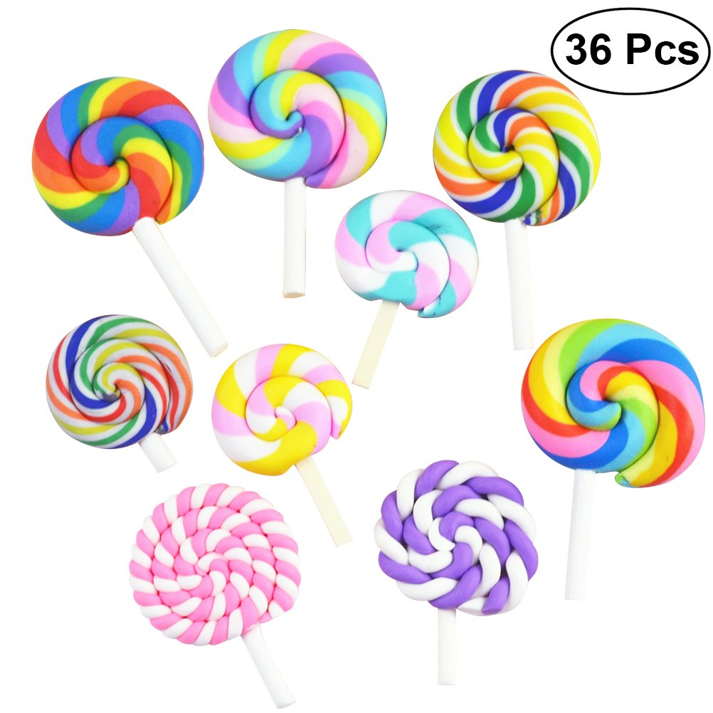 ULTNICE 36pcs Lollipop Shape Polymer Clay Abbellimenti DIY Cabochon Craft Ornament (Random)