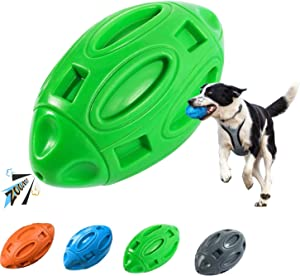 vnice Durable Squeaky Dog Toy for Anxiety Relief,Elasticity Rubber Football,Puppy Toothbrush ,Tough Interactive Pet Toy Ball for Small Medium and Large Breed(Green)