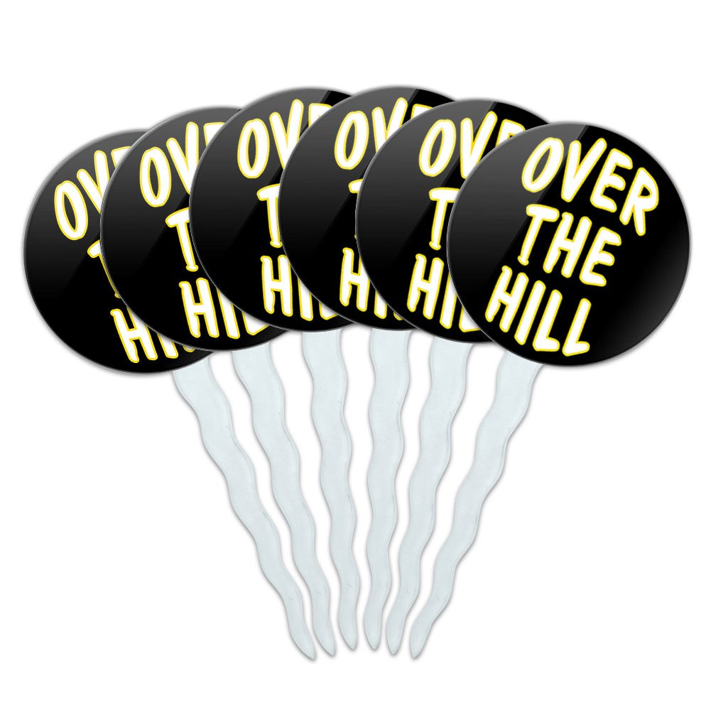 Set of 6 Cupcake Picks Toppers Decoration Birthday Party - Over the Hill Birthday Black Yellow