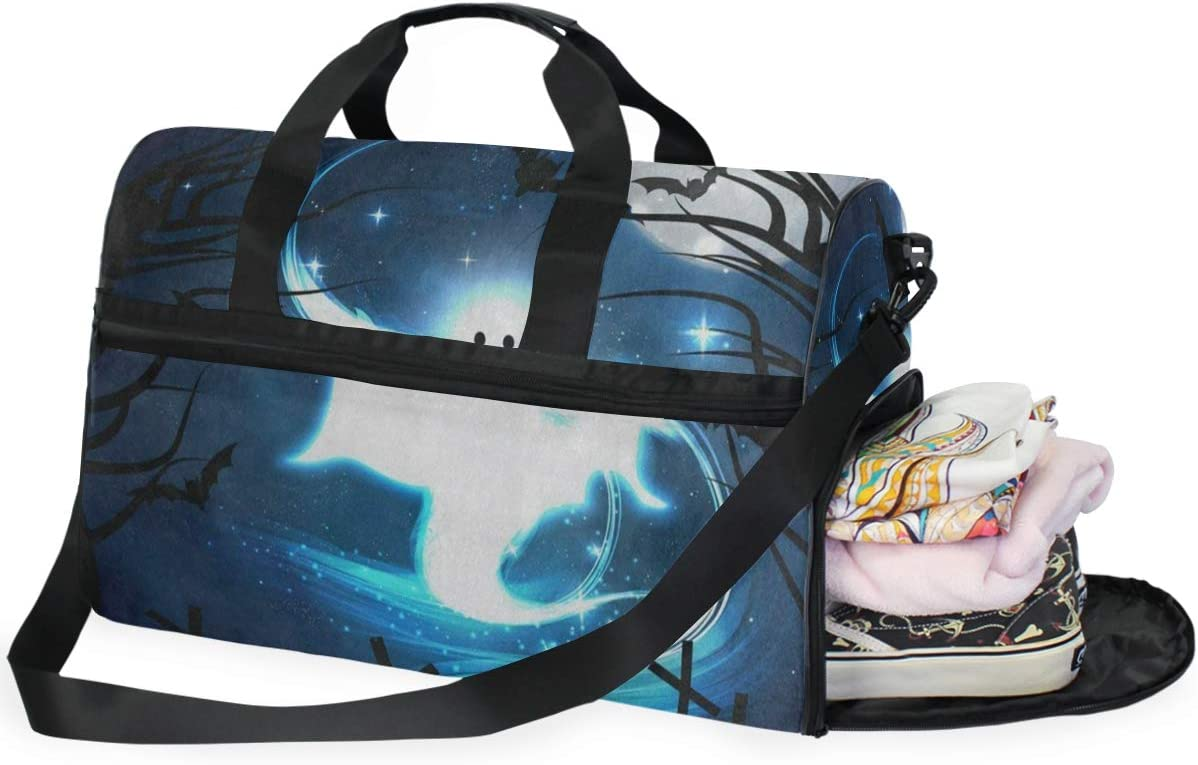 Duffle Bag Halloween Night Ghost Bat Forest Moon Gym Bag with Shoe Compartment Sport Bag for Men Women