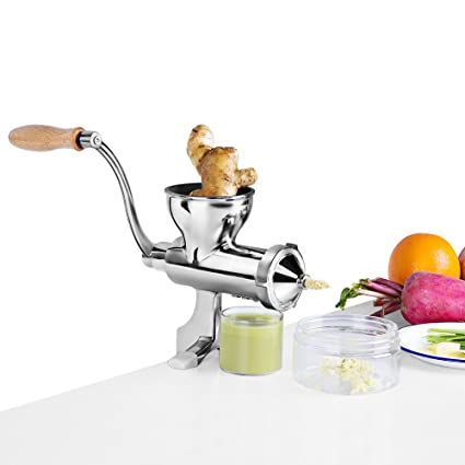 Exprimidor manual de jugos de frutas y hortalizas Wheggrass de acero inoxidable MinegRong Exprimidor manual de