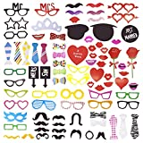 Amzbear Photo Booth Props 88 Pieces DIY Kits for Wedding Christmas Birthday Party Dress-up Accessories (88)
