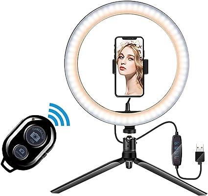 LEDリングライト 撮影照明用ライト 10インチ 3色モード 10段階調光 高輝度照明 Bluetoothリモコン付き USBライト 卓上ライト 美容化粧/You Tube生放送/ビデオカメラ撮影用