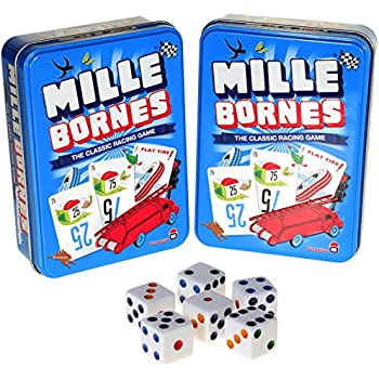 Mille Bornes Card Game in Tin _Bundle of 2 Identical Games _with 6 Bonus white (D6) Dice
