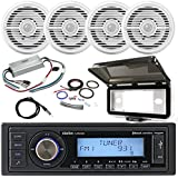 ClarionMarine 21' - 29' Pontoon Boat Audio Package: Single-DIN SiriusXM Bluetooth USB AUX Digital Media Receiver, 4 x 7 2-Way Water Resistant Speakers, 4 Ch Amplifier, Amp Kit, Radio Cover, Antenna