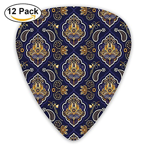 Newfood Ss Ethnic Indian Pattern With Arabesque Effects And Floral Ornaments Print Guitar Picks 12/Pack Set