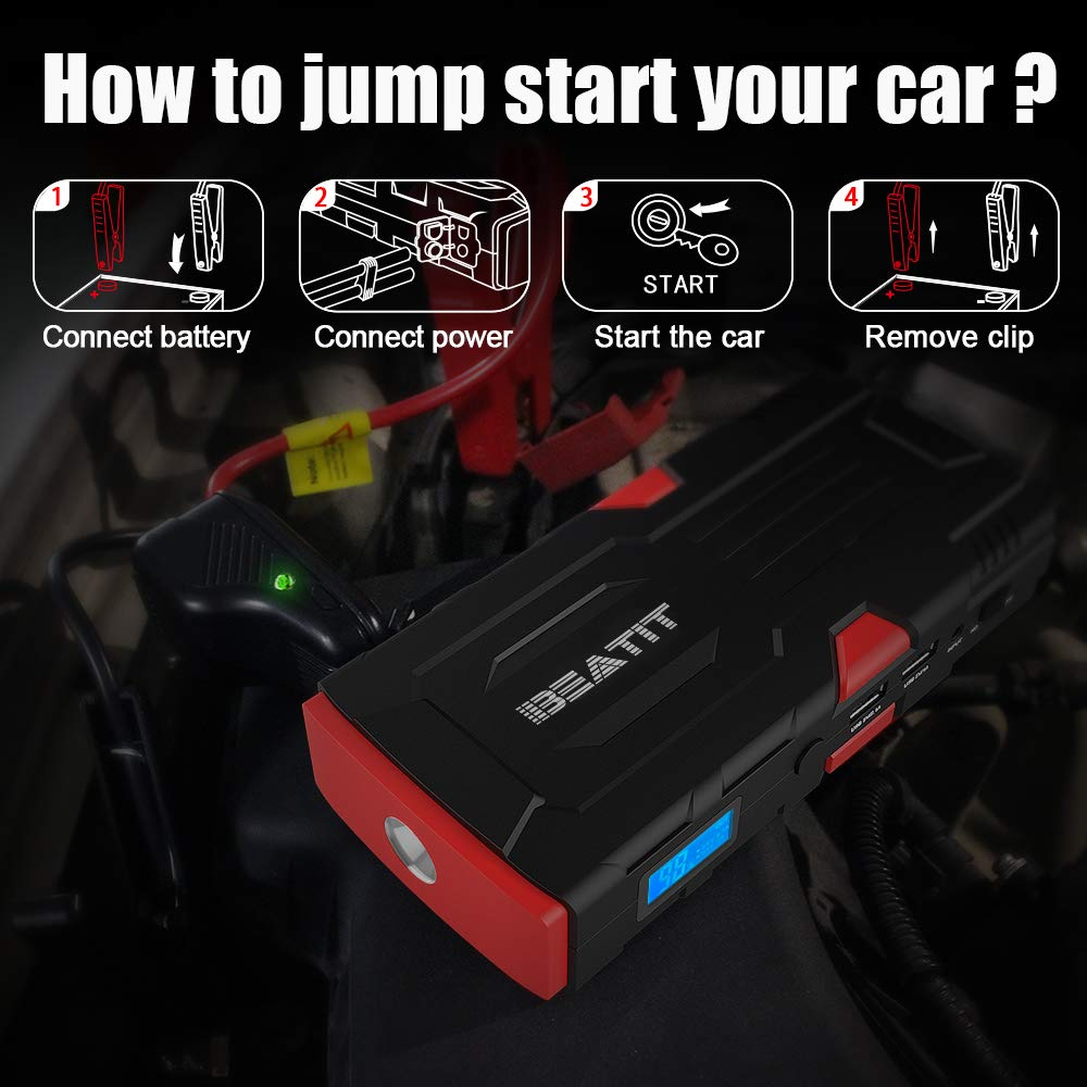 up to 7.5L Gas Or 5.5L Diesel Beatit BT-D11 800A Peak 18000mAh 12V Portable Car Jump Starter with Smart Jumper Cables Auto Battery Booster Power Pack