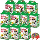 FujiFilm Instax Mini Instant Film 10 Pack (10 x 20) Total of 200 Sheets + 240 Assorted Colorful Mini Photo Stickers for FujiFilm Instax Mini 9 8 7 7s 90 70 50s 25 300 Instant Cameras