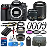 Nikon D7000 Digital SLR Camera with Nikon DX NIKKOR 18-55mm f/3.5-5.6G VR II Lens + Nikon DX NIKKOR 55-200mm f/4-5.6G ED VR II Lens + Wideangle Lens + Telephoto Lens - International Version