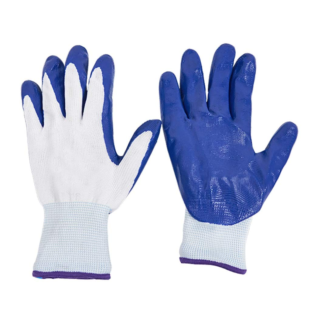 LZRZBH Industrial Gloves,Work Glove Garden Gloves for Digging Planting, Best Gardening Gifts for Women and Men (Blue, 12 Pairs)