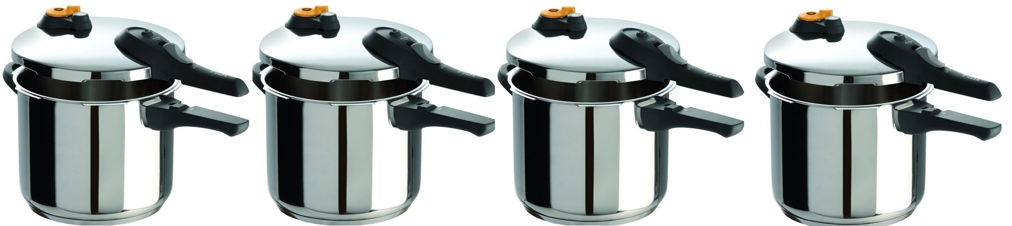 T-fal P25107 Stainless Steel Dishwasher Safe PTFE PFOA and Cadmium Free 10 / 15-PSI Pressure Cooker Cookware ZLCmoL, 6.3-Quart, Silver, 4 Pack