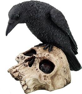 PTC 5 Inch Halloween Black Raven on Skeleton Skull Statue Figurine