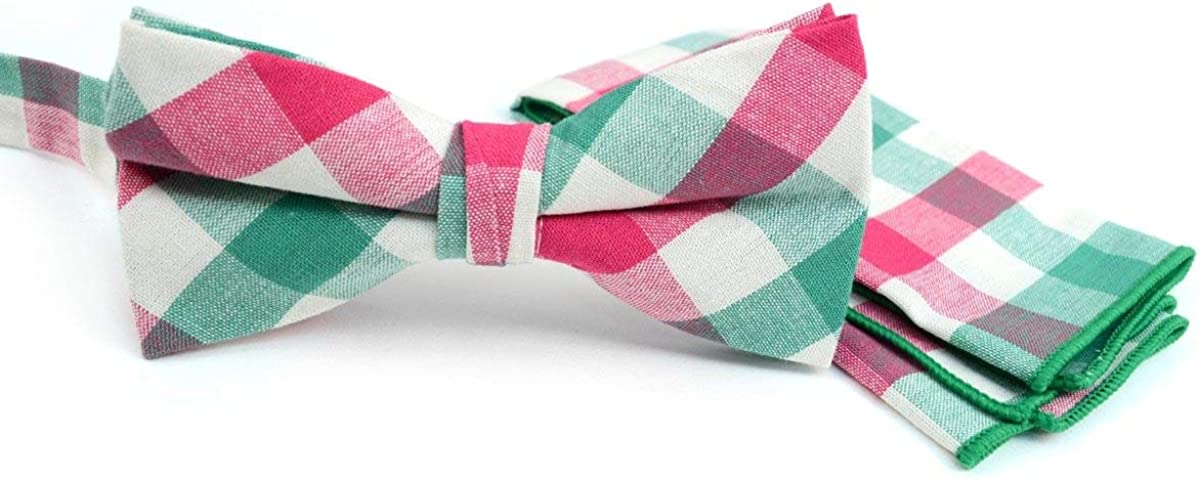 New Men/'s Pre-tied Bow Tie /& Hankie set Black pink plaid Party Wedding formal