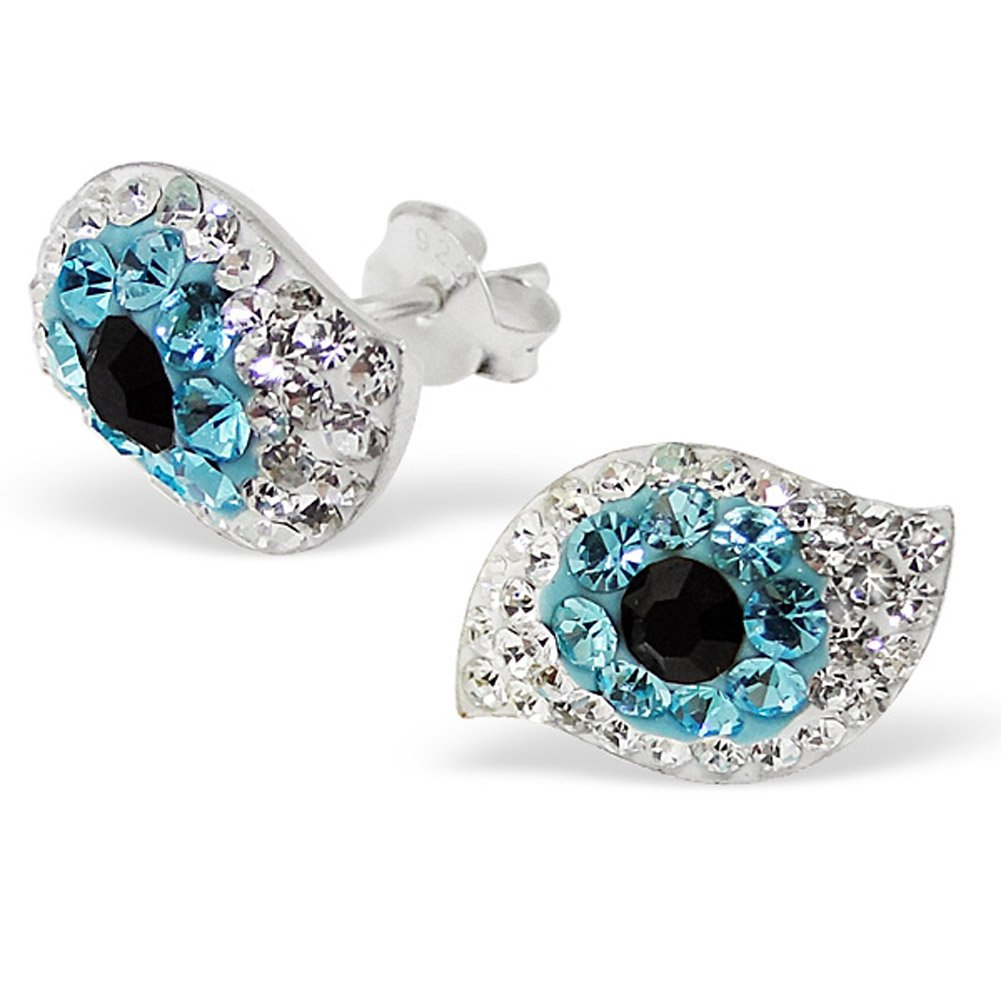 Small Evil Eye Crystal Studs Earrings 925 Sterling Silver Posts Studs (E12693)