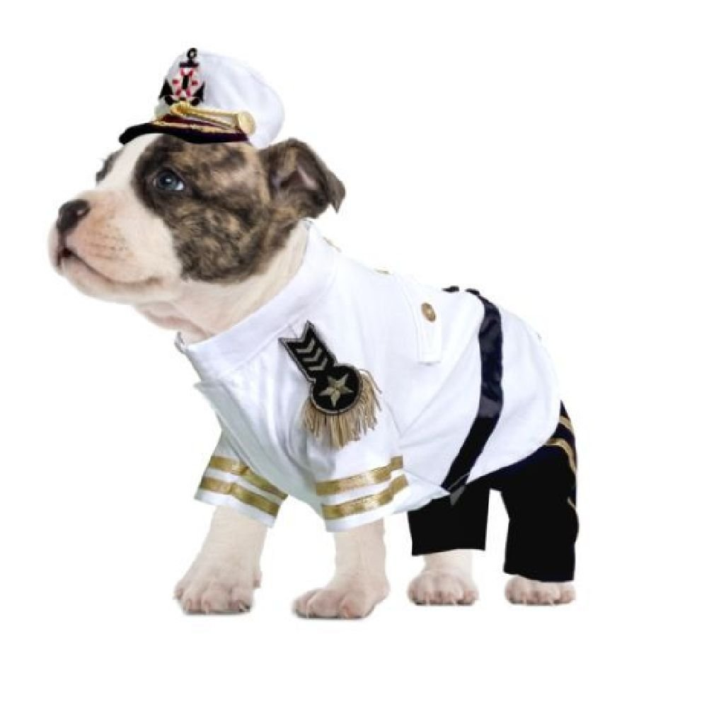 Yacht Admiral Costume For Dogs Authentic Detail Navy Sailor Uniform