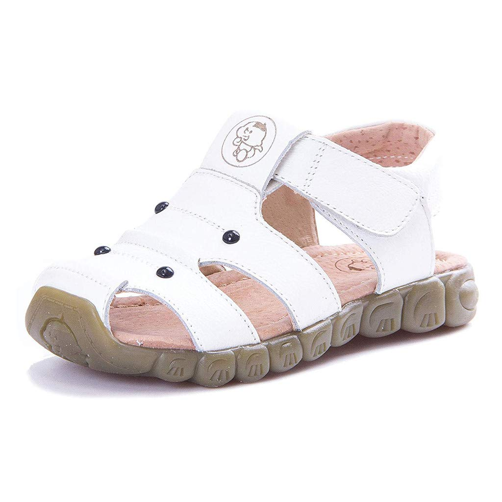 Respctful✿Kids' River Fisherman Sandal Closed-Toe Outdoor Water Sandals Summer Breathable Leather Toddler Sandals White