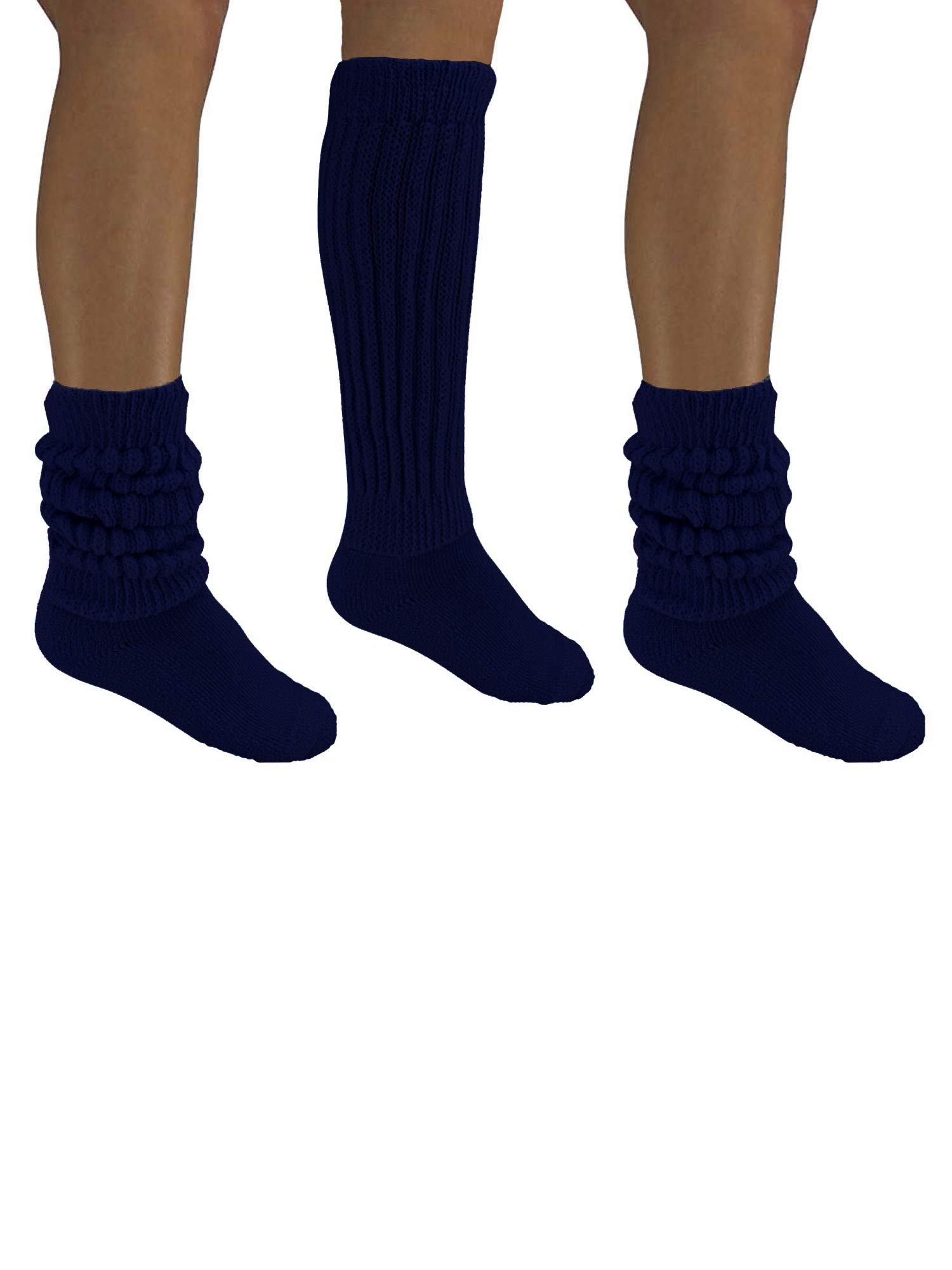 Navy Blue All Cotton 3 Pack Extra Heavy Slouch Socks