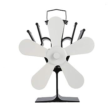 Pudincoco Ventilador de Chimenea de Potencia térmica Ventilador de Estufa de leña Alimentado por Calor Ventiladores de Cinco Hojas (Blanco): Amazon.es: ...