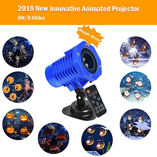 (SunBox Animated Projector Lights, Waterproof IP65,Wireless Remote Control Movie Show, Animation Effect, Auto-Timer, Speed/Flash Adjustment,Garden Lamp Lighting for Christmas Halloween Holiday)