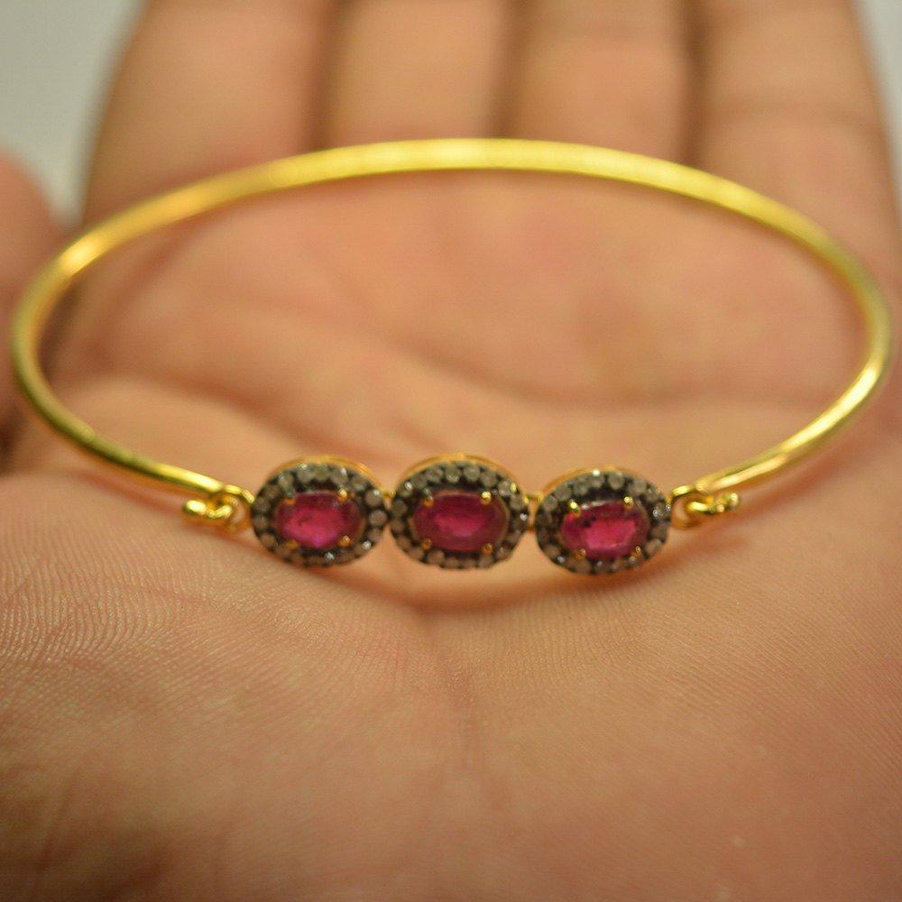 Handmade Gold Plated Ruby Gemstone Bangle, Designer Gold Plated Pave Diamond Bangle