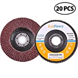 4.5 Inch Sanding Flap Discs - 40/60/80/120 Grit Assorted Aluminum Oxide Abrasive Grinding Wheels by LotFancy, Pack of 20, Type #27