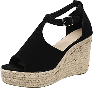 GoodLock Hot! TM Women Fashion Wedge Heel High Sandals Shoe Ladies Summer Wild Strap Buckle Belt Fish Mouth Wedges Shoes