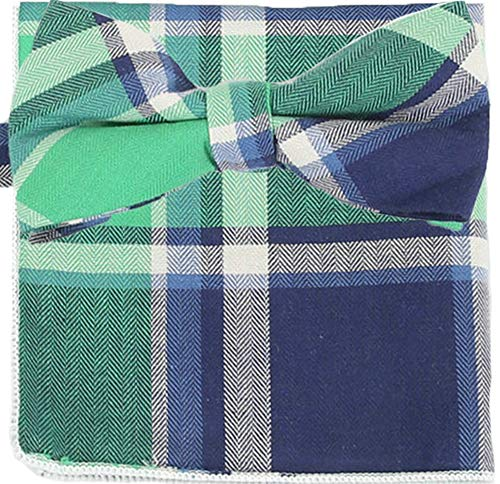 Flairs New York Flannel and Tweed Collection Bow Tie & Pocket Square Matching Set (Mint Green/White / Blue) -
