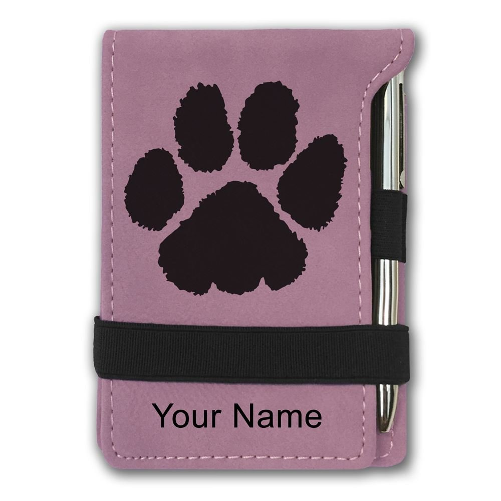 Mini Notepad, Paw Print, Personalized Engraving