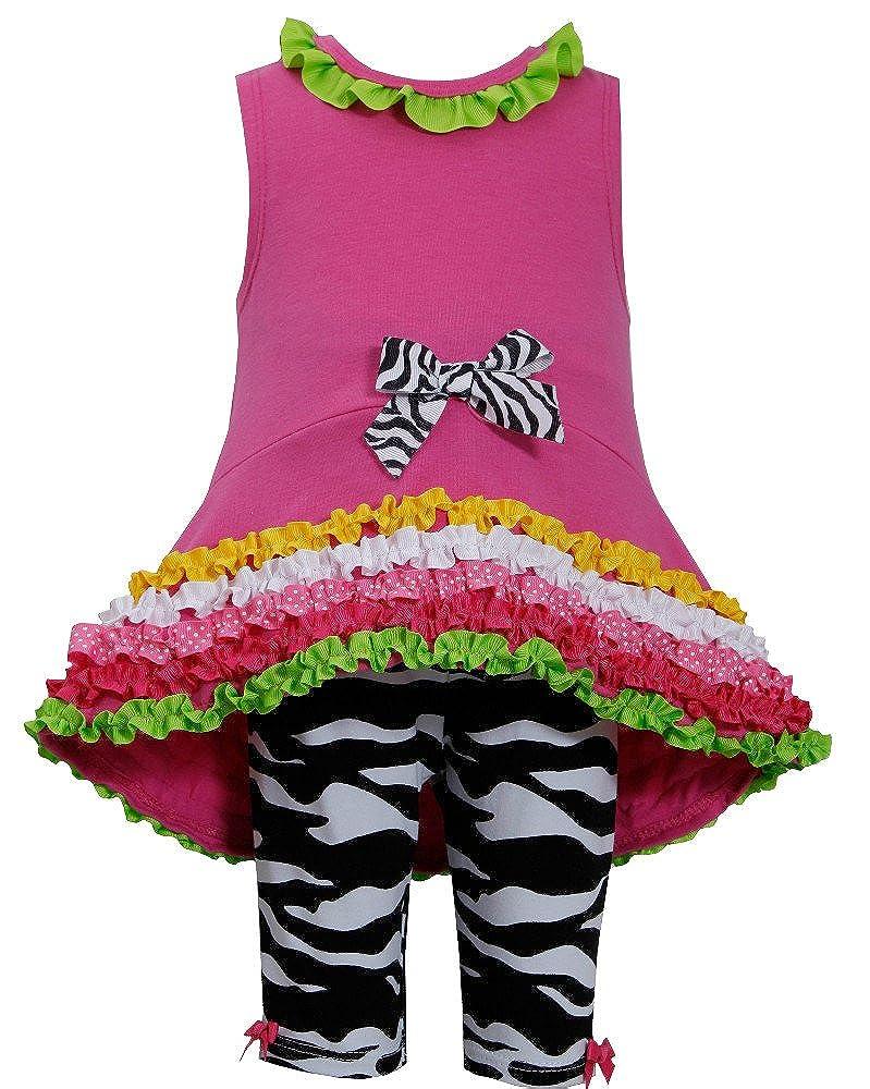 Bonnie Jean Little Girls Hi Low Zebra Ruffle Pant Set