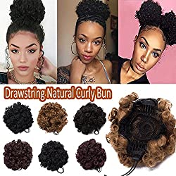 Afro Synthetic Kinky Curly Puff Hair Bun Ponytail for African American Women Scrunchy Scrunchies Drawstring Chignon Hairpiece with Clips Short Pigtail Accessory One Piece Dark Brown