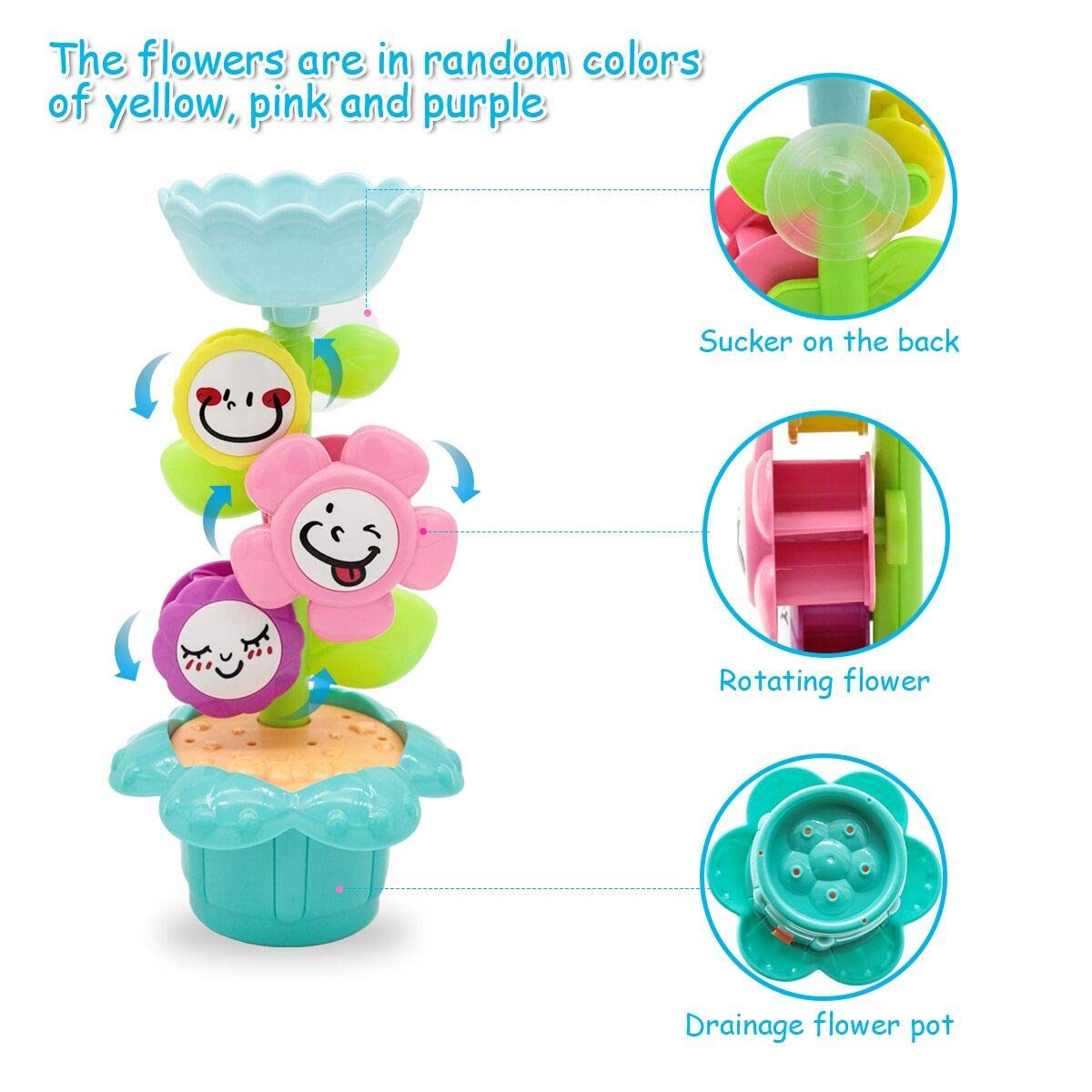 6 PCs Bathtub Bathtime Toys for Baby Toddlers 1 2 3 Year Old Lydaz Bath Toys Set Stacking Cups and Watering Can Plus Bath Toy Organizer Kids Flower Waterfall Water Station
