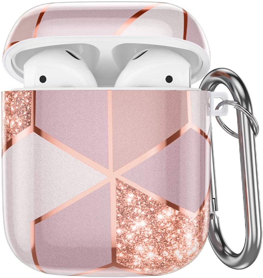 Hamile Compatible with Airpods Case Cover Cute Protective Case for Apple Airpods 2 & 1, Fadeless Shockproof Hard Case Cover with Portable Carabiner for Girls Women Men - Pink Geometric