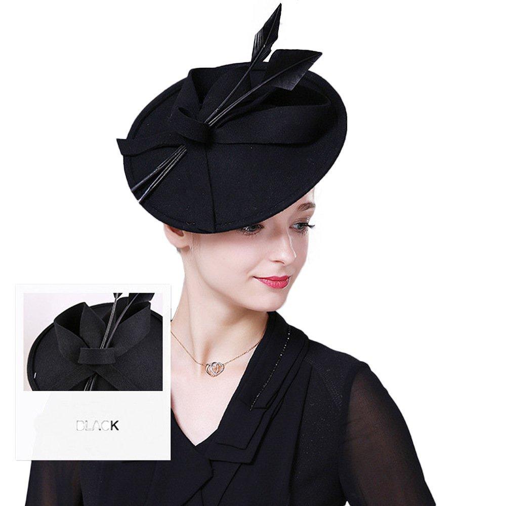 Vintage Womens Dress Fascinator Wool Pillbox Hat Formal Church Wedding Tilt Hat Black by FADVES (Image #3)