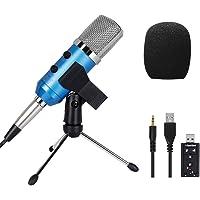 Tonor Studio Kondensator-Mikrofon mit 3.5mm Plug+Halter+Windschutz Schaumhülle für Broadcast Gesang Netzwerk Singen und Aufnahme mit Musikinstrumenten Blau
