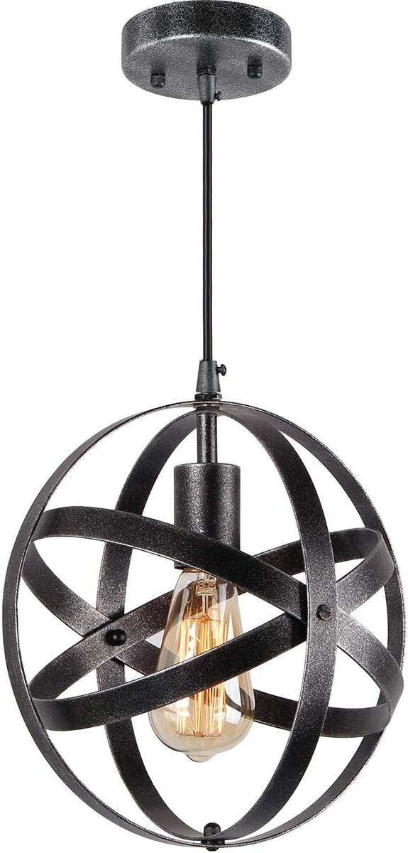 SYDTOP Modern Mini Pendant Light, Clear Seeded Glass Shade with 13Ft Plug in Cord and On Off Switch, Adjustable Vintage Farmhouse Hanging Lamp for Kitchen Island Restaurant Cafe Hotels and Shops