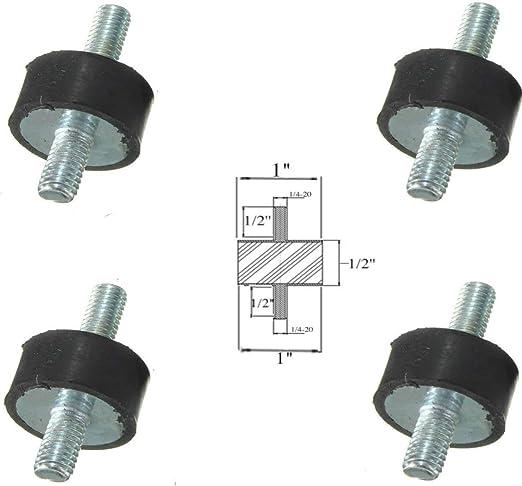 1-1//2 Dia x 1-1//2 Ht 5//16-18 x 1 Length Male Studs 4 Rubber Vibration Isolator Mounts