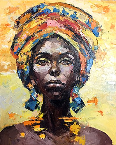 "Faicai Art African American Woman Art Black Art Handmade Textured Oil Paintings Canvas Wall Art for Living Room Bedroom Abstract Africa Pictures Art Work Wooden Framed, African Life 32""x48"""