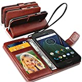 N+ INDIA Motorola Moto G5 Plus Rich Leather Stand Wallet Flip Case Cover Book Pouch / Quality Slip Pouch / Soft Phone Bag (Specially Manufactured - Premium Quality) Antique Leather Case Brown
