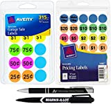 Avery Garage Sale Bundle, Includes 665 Total Pricing Labels, Black Marker for Manual Pricing a Custom AdvantageOP Retractable Ballpoint Pen