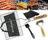 #1: BBQ Grilling Basket Set Includes Grill Mat, Grill Brush, Silicone Basting Brush and BBQ Grilling Basket 430 Stainless Steel Removable Wooden Handle