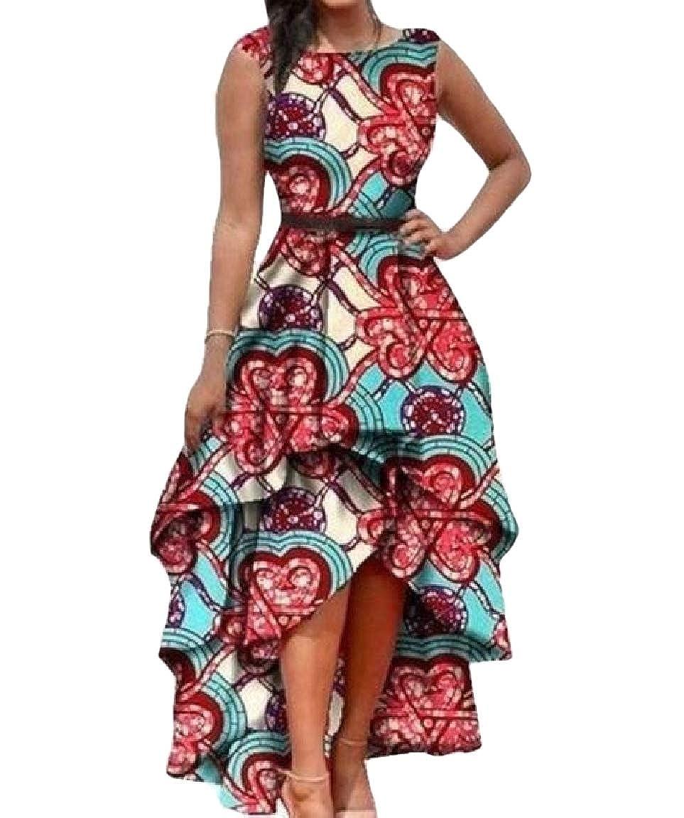 Andopa womens Floral Print Dashiki Swing High-Low African Long Maxi Dress