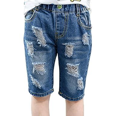 074855ae0ac307 GladiolusA Mädchen Jungen Short Denim Shorts Bermudas Kurze Hose Sommerhose  Gerissen Denim Stretch Jeans Shorts  Amazon.de  Bekleidung