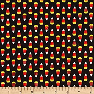 HENRY GLASS & CO. Fangtastic Glow In The Dark Candy Corn Black Fabric By The Yard