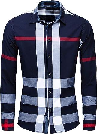 Ericcay Camisas De Vestuario para Hombre Camisa A Cuadros De ...